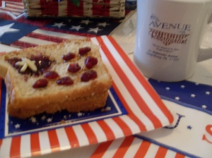 "Blueberry jam, peanut butter, dried cranberries and almond slivers make a perfect, ""inside-out' peanut butter and jelly flag sandwich."